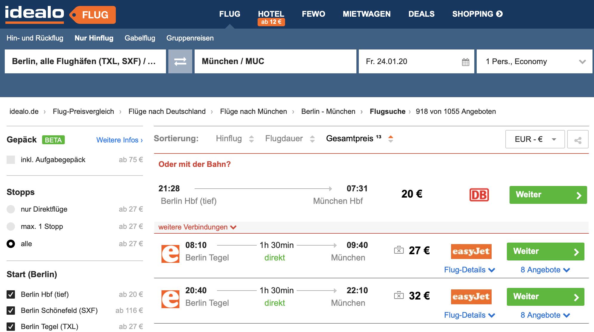 idealo Bahnpreisvergleich